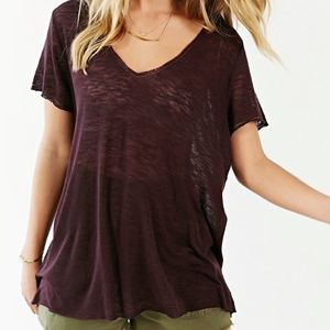 Project Social T Women's Purple Textured-knit V